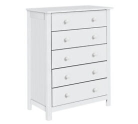 HOME New Scadinavia 5 Drawer Chest - White