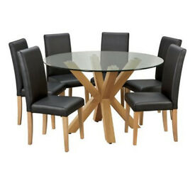 Home Alden Glass Round Table & 6 Chairs - Black