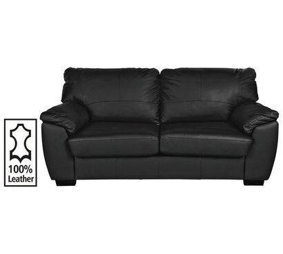 Milano 3 Seater Leather Sofa Black
