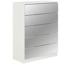 Argos Home Sandon 5 Drawer Chest - White and Mirrored