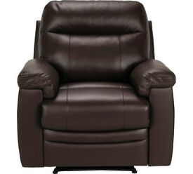 New Paolo Leather Manual Recliner Chair - Brown