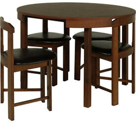 Hygena Alena Circular Solid Wood Table & 4 Chairs - Walnut