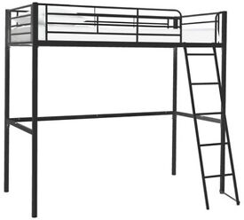 Kids Metal High Sleeper Bed Frame - Black