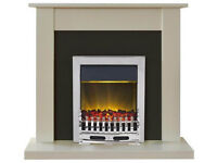 Adam Sutton 2kW Electric Fireplace Suite - Cream & Black