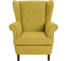 Martha Fabric Wingback Chair - Yellow