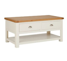 Heart of House Kent 2 Drawer Coffee Table - Oak & Soft Grey
