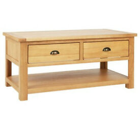 Heart of House Kent 2 Drawer Oak & Oak Veneer Coffee Table