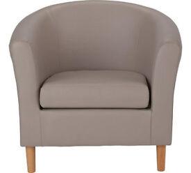 Leather Effect Tub Chair - Mocha
