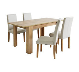 already built up Miami Extendable Dining Table & 4 Chairs - Cream
