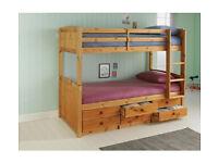 Leigh Detachable Single Bunk Bed Frame - Pine