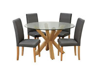 Home Alden Round Glass Table & 4 Chairs - Charcoal