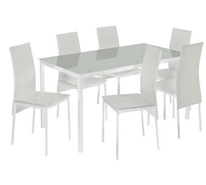 Hygena Lido Glass Dining Table 6 Chairs