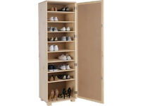 Mirrored Shoe Storage Cabinet - Solid Unfinished Pine