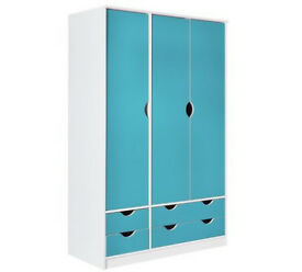 HOME New Pagnell 3 Door 4 Drawer Wardrobe - Blue