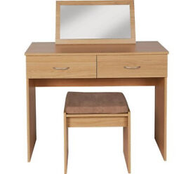 Cheval Dressing Table, Stool & Mirror - Oak Eff