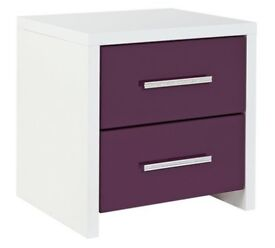 HOME Broadway 2 Drawer Bedside Chest - Plum Gloss & White
