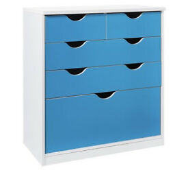 HOME New Pagnell Deep 3+2 Drawer Chest - Blue