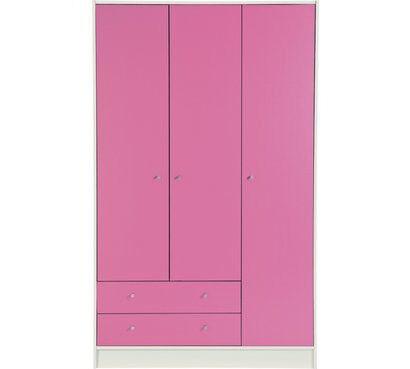 Kids New Malibu 3 Door 2 Drawer Wardrobe - Pink & White