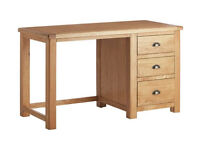 Heart of House Kent 3 Drawer Office Desk - Oak & Oak Veneer