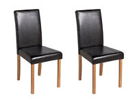 HOME Pair of Leather Effect Mid Back Chairs - Black Oak