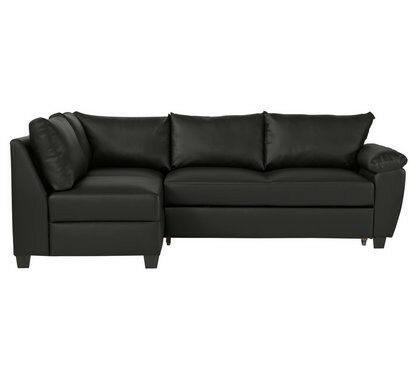 Fernando Leather Eff Left Corner Sofa Bed Black