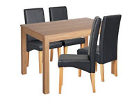 Home Clifton Oak Veneer 120cm Table & Chairs - Black