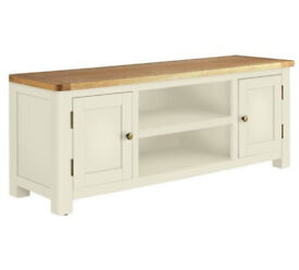Heart of House Kent Large TV Bench - Oak & Soft Grey