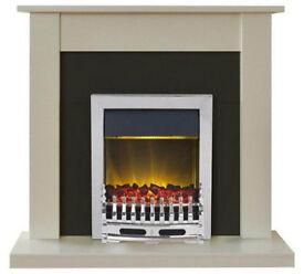 Adam Sutton 2kW Electric Fireplace Suite - Cream & Black