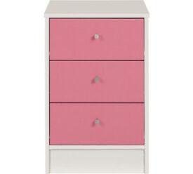 Malibu 3 Drawer Bedside Chest - Pink On White