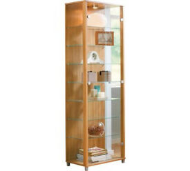 2 Glass Door Display Cabinet - Light Oak Effect