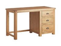 Heart of House Kent 3 Drawer Office Desk - Oak & Oak Veneer