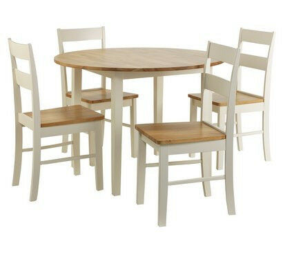 Chicago Round Solid Wood Dining Table 4 Chairs