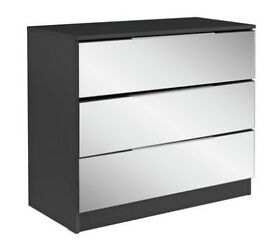 HOME Sandon 3 Drawer Chest - Black and Mirrored