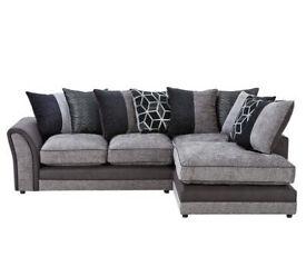 Rhiannon Fabric Right Corner Sofa - Black Silver