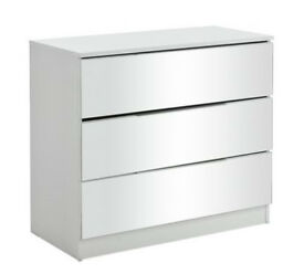 HOME Sandon 3 Drawer Chest - White and Mirrored