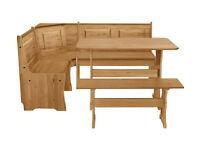 HOME Puerto Rico Solid Wood Nook Table & 3 Corner Bench Set