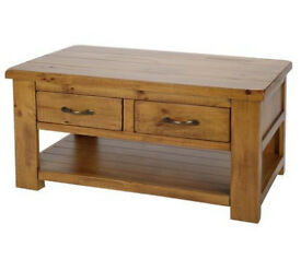 Arizona 2 Drawer 1 Shelf Solid Pine Coffee Table