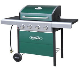 Fully assembled Outback 4 Burner Gas BBQ with Cover - Green