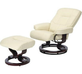 Santos Recliner Chair and Footstool - Ivory