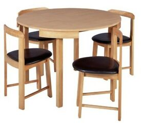 Hygena Alena Circular Solid Wood Table & 4 Chairs - Oak
