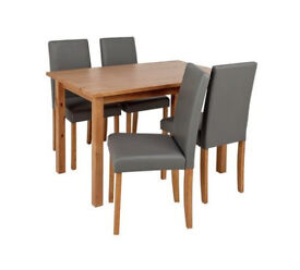 Ashdon Solid Wood Table & 4 Mid Back Chairs - Grey