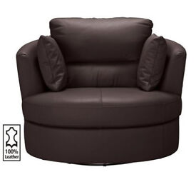 Trieste Leather Swivel Chair - Dark Brown