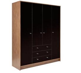 Malibu 4 Door 3 Drawer Wardrobe - Black Gloss & Walnut