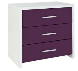 Broadway 3 Drawer Chest - Plum Gloss & White