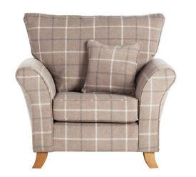 Kayla Window Pane Fabric Chair - Beige