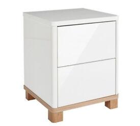 Hygena Finn 2 Drawer Bedside Chest - White Gloss