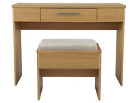 HOME Normandy 1 Drawer Dressing Table and Stool - Oak Effect