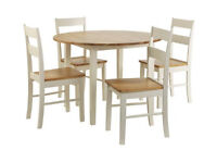 Chicago Round Solid Wood Dining Table & 4 Chairs