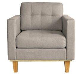 Hygena Aliso Fabric Chair - Light Grey