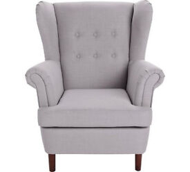 Martha Fabric Wingback Chair - Light Grey